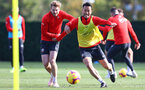 SOUTHAMPTON, ENGLAND - NOVEMBER 02: Stuart Armstrong(L) and Maya Yoshida during a Southampton FC training session at the Staplewood Campus on November 2, 2018 in Southampton, England. (Photo by Matt Watson/Southampton FC via Getty Images)