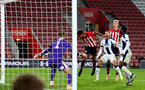 SOUTHAMPTON, ENGLAND - NOVEMBER 02: Marcus Banres (middle) scores during the U23s Premier League 2 match between Southampton FC and Westbrom Albion FC, 2018 in Southampton, England. (Photo by James Bridle - Southampton FC/Southampton FC via Getty Images)