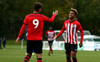 READING, ENGLAND - NOVEMBER 03: Enzo Robise (right) during the under 18s Premier league match between Reading FC and Southampton FC, 2018 in Reading, England. (Photo by James Bridle - Southampton FC/Southampton FC via Getty Images)