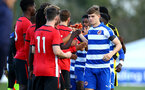 READING, ENGLAND - NOVEMBER 03:Teams shake hands ahead of Kick off for the under 18s Premier league match between Reading FC and Southampton FC, 2018 in Reading, England. (Photo by James Bridle - Southampton FC/Southampton FC via Getty Images)