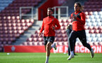 SOUTHAMPTON, ENGLAND - NOVEMBER 07: LtoR Jack Stephens, Jannik Vestergaard during a Southampton FC training session at St Mary's Stadium on November 7, 2018 in Southampton, England. (Photo by James Bridle - Southampton FC/Southampton FC via Getty Images)