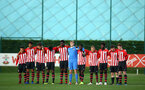 SOUTHAMPTON, ENGLAND - NOVEMBER 10: Southampton FC  U18s 1 minute silence ahead of Kick off for the U18 Premier League match between Southampton FC and Stoke City FC pictured at Staplewood Complex on November 10, 2018 in Southampton, England. (Photo by James Bridle - Southampton FC/Southampton FC via Getty Images)