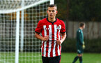 SOUTHAMPTON, ENGLAND - NOVEMBER 10: Kornelius Hansen (middle) during the U18 Premier League match between Southampton FC and Stoke City FC pictured at Staplewood Complex on November 10, 2018 in Southampton, England. (Photo by James Bridle - Southampton FC/Southampton FC via Getty Images)