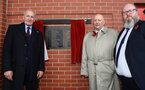 SOUTHAMPTON, ENGLAND - NOVEMBER 10: L to R, Southampton FC chairman Ralph Kruger, John Sillett former manager of Coventry City and who's dad appears on a commemorative remembrance plaque and Peter Francis from the war graves commission, ahead of the Premier League match between Southampton FC and Watford FC at St Mary's Stadium on November 10, 2018 in Southampton, United Kingdom. (Photo by Matt Watson/Southampton FC via Getty Images)