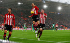 SOUTHAMPTON, ENGLAND - NOVEMBER 10: Manolo Gabbiadini(centre) of Southampton celebrates after opening the scoring during the Premier League match between Southampton FC and Watford FC at St Mary's Stadium on November 10, 2018 in Southampton, United Kingdom. (Photo by Matt Watson/Southampton FC via Getty Images)