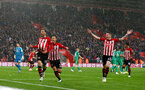 SOUTHAMPTON, ENGLAND - NOVEMBER 10: Manolo Gabbiadini(L) of Southampton celebrates after scoring during the Premier League match between Southampton FC and Watford FC at St Mary's Stadium on November 10, 2018 in Southampton, United Kingdom. (Photo by Matt Watson/Southampton FC via Getty Images)