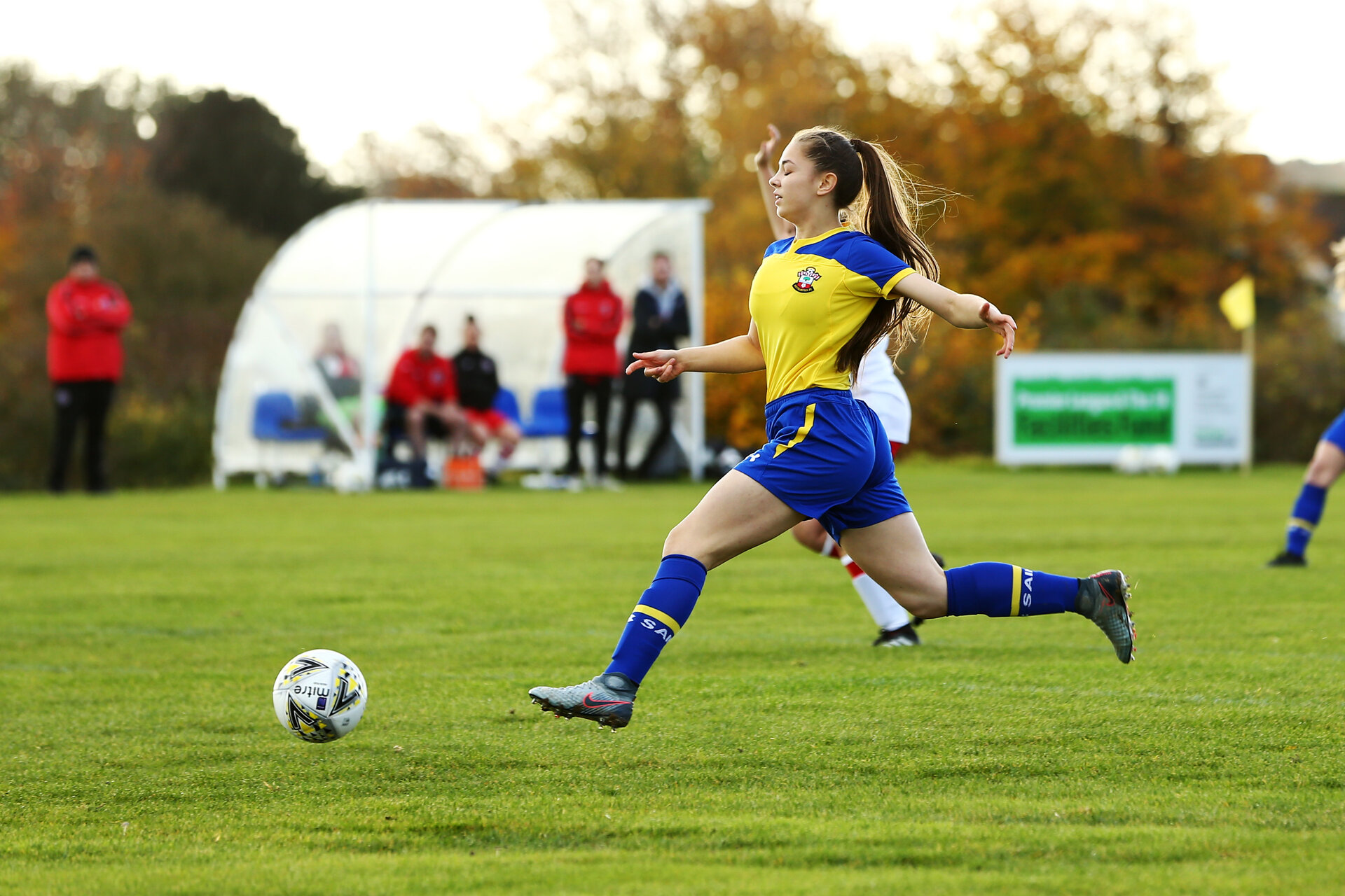 SOUTHAMPTON, ENGLAND - NOVEMBER 11: during the Women's FA Cup Round 1 match  between Poole Town FC and Southampton FC at Milbourne St Andrews Sport Ground on November 11, 2018 in Southampton, England. (Photo by James Bridle - Southampton FC/Southampton FC via Getty Images)
