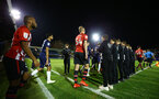 SOUTHEND, ENGLAND - NOVEMBER 14: Southampton FC players come onto the pitch ahead of KO for the Checkatrade Trophy match between Southend United and Southampton FC U21s pictured at Roots Hall on November 14, 2018 in Southend, England. (Photo by James Bridle - Southampton FC/Southampton FC via Getty Images)