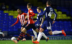 SOUTHEND, ENGLAND - NOVEMBER 14: Yan Valery (left) during the Checkatrade Trophy match between Southend United and Southampton FC U21s pictured at Roots Hall on November 14, 2018 in Southend, England. (Photo by James Bridle - Southampton FC/Southampton FC via Getty Images)