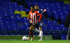 SOUTHEND, ENGLAND - NOVEMBER 14: Yan Valery (middle) of Southampton FC during the Checkatrade Trophy match between Southend United and Southampton FC U21s pictured at Roots Hall on November 14, 2018 in Southend, England. (Photo by James Bridle - Southampton FC/Southampton FC via Getty Images)