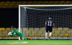 SOUTHEND, ENGLAND - NOVEMBER 14: Harry lewis (left) during the Checkatrade Trophy match between Southend United and Southampton FC U21s pictured at Roots Hall on November 14, 2018 in Southend, England. (Photo by James Bridle - Southampton FC/Southampton FC via Getty Images)