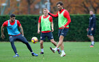 SOUTHAMPTON, ENGLAND - NOVEMBER 15: Wesley Hoedt(L) and Manolo Gabbiadini during a Southampton FC training session at the Staplewood Campus on November 15, 2018 in Southampton, England. (Photo by Matt Watson/Southampton FC via Getty Images)