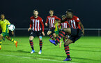 NORWICH, ENGLAND - NOVEMBER 23: Jonathan Afolabi (right) during the U23s PL2 match between Norwich City and Southampton FC pictured at Colney Training Ground on November 23, 2018 in Norwich, England. (Photo by James Bridle - Southampton FC/Southampton FC via Getty Images)