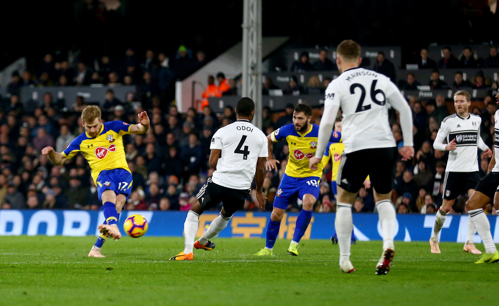 LONDON, ENGLAND - NOVEMBER 24: Stuart Armstrong of Southampton scores his second during the Premier League match between Fulham FC and Southampton FC at Craven Cottage on November 24, 2018 in London, United Kingdom. (Photo by Matt Watson/Southampton FC via Getty Images)