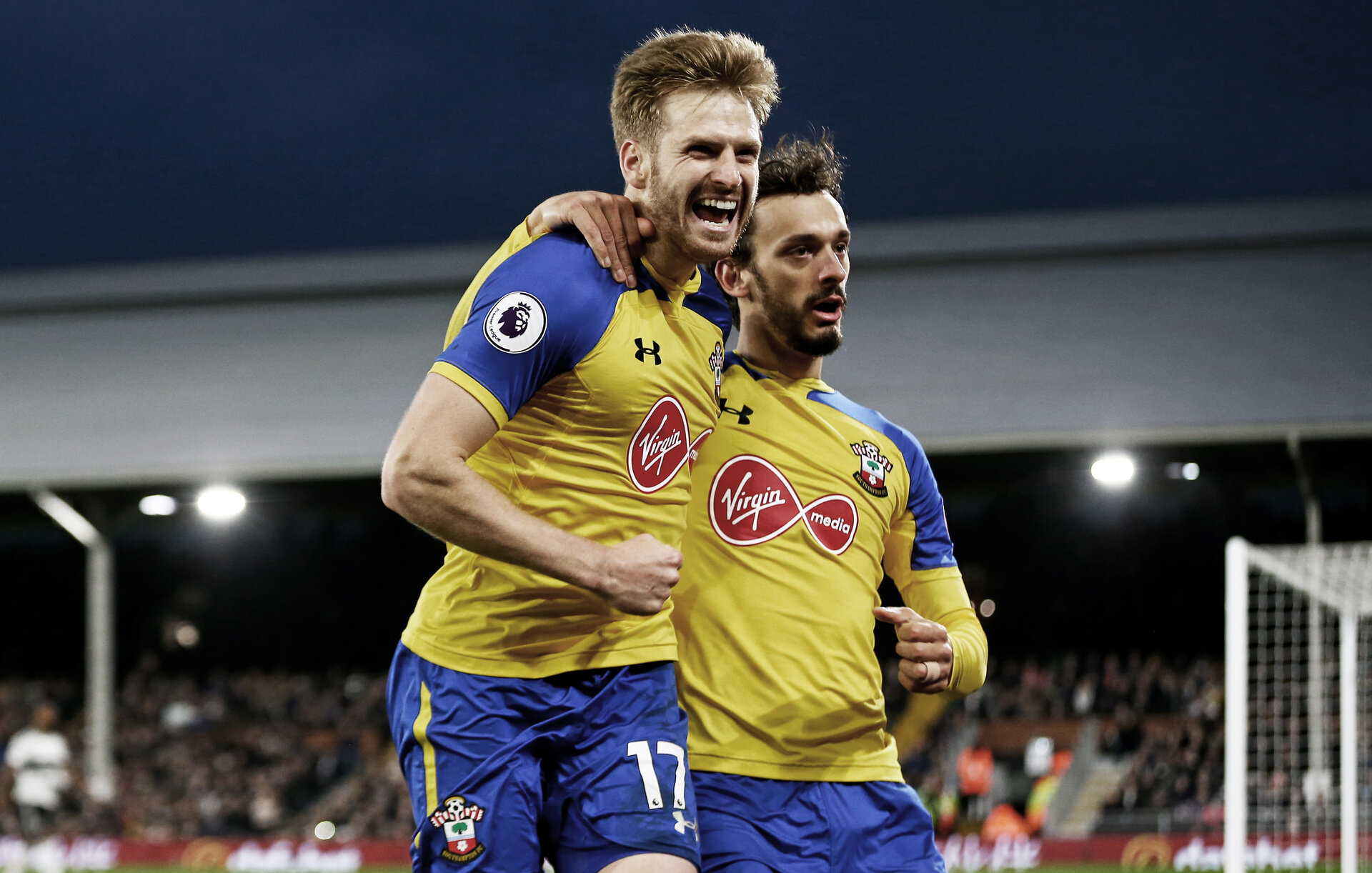 LONDON, ENGLAND - NOVEMBER 24: Stuart Armstrong of Southampton celebrates during the Premier League match between Fulham FC and Southampton FC at Craven Cottage on November 24, 2018 in London, United Kingdom. (Photo by Matt Watson/Southampton FC via Getty Images)