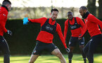 SOUTHAMPTON, ENGLAND - NOVEMBER 26: Maya Yoshida (middle) during a first team training session at Staplewood Complex on November 26, 2018 in Southampton, England. (Photo by James Bridle - Southampton FC/Southampton FC via Getty Images)