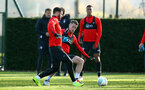 SOUTHAMPTON, ENGLAND - NOVEMBER 26: LtoR Charlie Austin, Steven Davis during a first team training session at Staplewood Complex on November 26, 2018 in Southampton, England. (Photo by James Bridle - Southampton FC/Southampton FC via Getty Images)