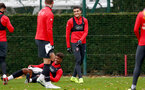 SOUTHAMPTON, ENGLAND - NOVEMBER 29: Mario Lemina(L) and Mohamed Elyounoussi during a Southampton FC training session at the Staplewood Campus on November 29, 2018 in Southampton, England. (Photo by Matt Watson/Southampton FC via Getty Images)