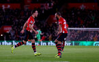 SOUTHAMPTON, ENGLAND - DECEMBER 01: Cedric(L) of Southampton celebrates after scoring his teams second during the Premier League match between Southampton FC and Manchester United at St Mary's Stadium on December 1, 2018 in Southampton, United Kingdom. (Photo by Matt Watson/Southampton FC via Getty Images)