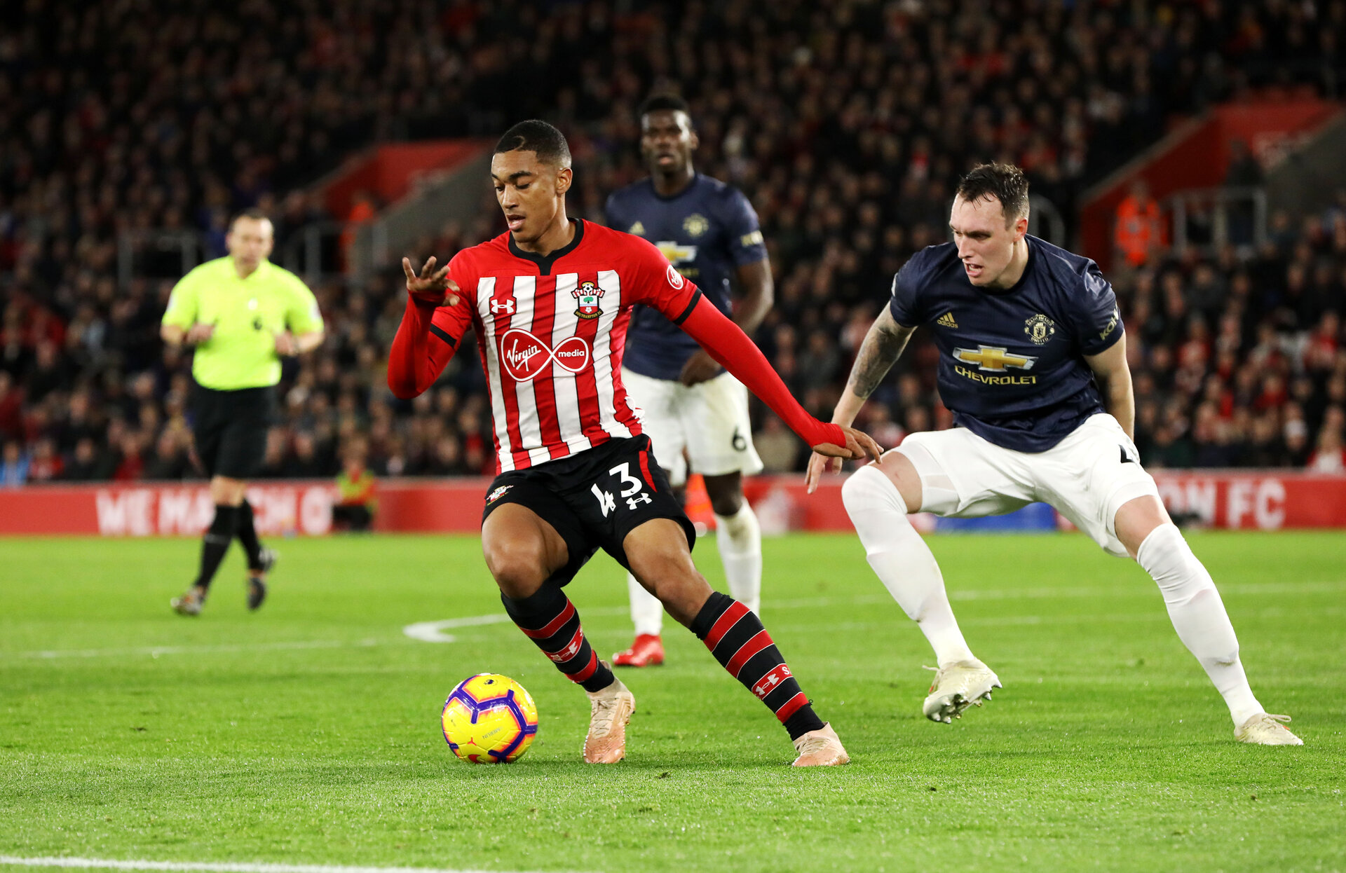 SOUTHAMPTON, ENGLAND - DECEMBER 01: Yan Valery of Southampton during the Premier League match between Southampton FC and Manchester United at St Mary's Stadium on December 1, 2018 in Southampton, United Kingdom. (Photo by Chris Moorhouse/Southampton FC via Getty Images)