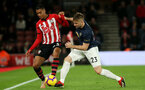 SOUTHAMPTON, ENGLAND - DECEMBER 01: Yan Valery, left, of Southampton and Luke Shaw during the Premier League match between Southampton FC and Manchester United at St Mary's Stadium on December 1, 2018 in Southampton, United Kingdom. (Photo by Chris Moorhouse/Southampton FC via Getty Images)