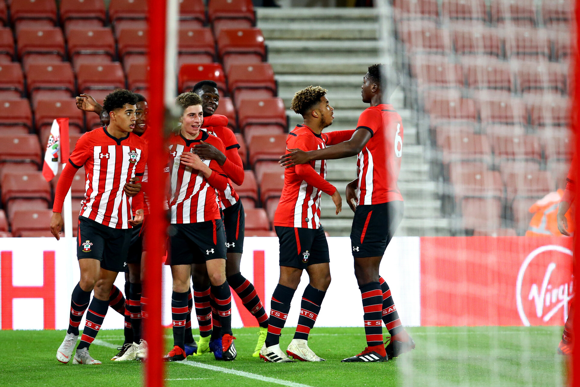 SOUTHAMPTON, ENGLAND - NOVEMBER 04: Christian Norton scores and celebrates (left) during the U18's FA Youth Cup match between Southampton FC and Rotherham United pictured at St Mary's Stadium on December 4, 2018 in Southampton, England. (Photo by James Bridle - Southampton FC/Southampton FC via Getty Images)