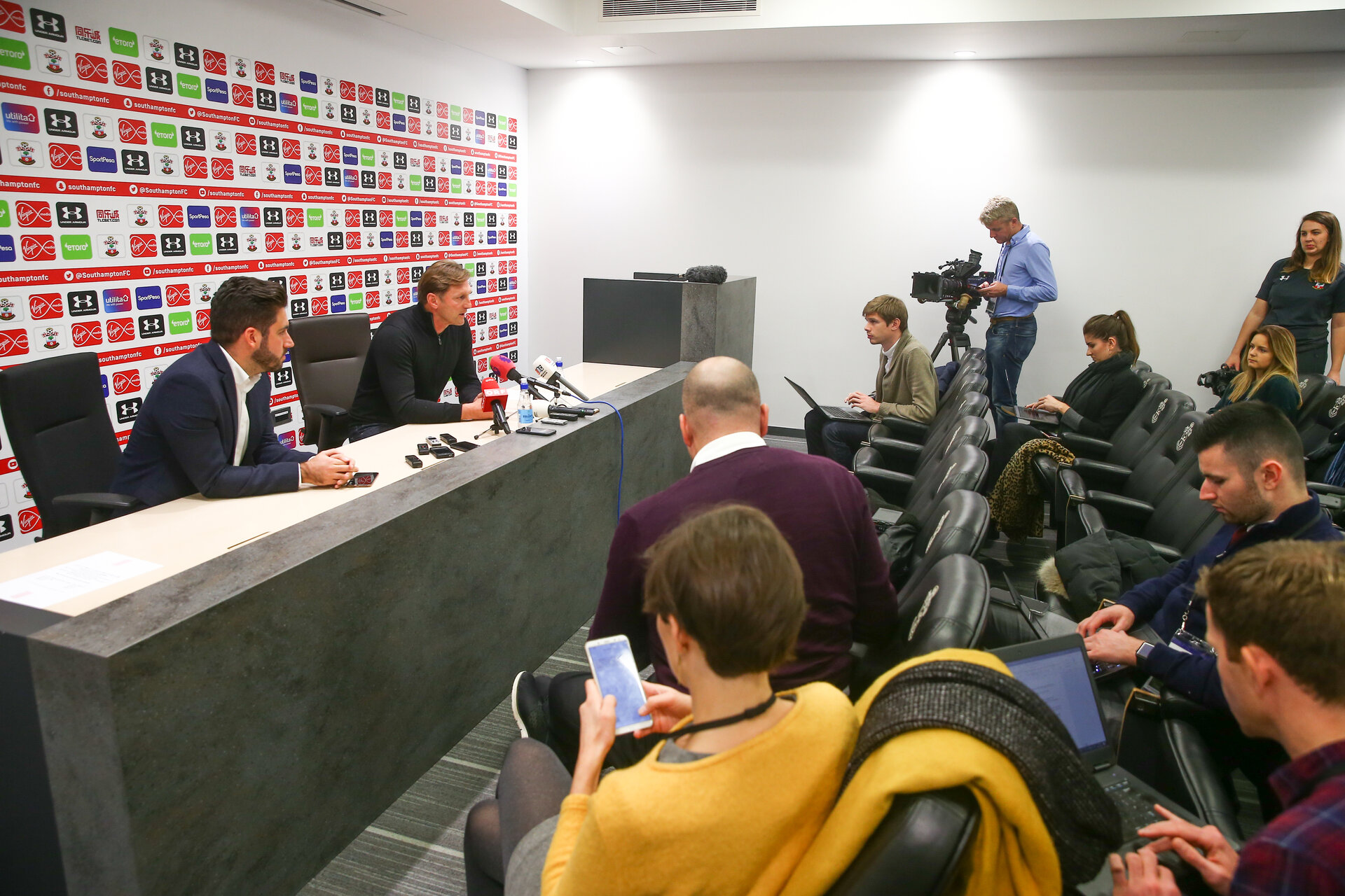 SOUTHAMPTON, ENGLAND - DECEMBER 06: new Southampton FC manager Ralph Hasenhüttl during his first press conference at the Staplewood Campus on December 6, 2018 in Southampton, England. (Photo by Matt Watson/Southampton FC via Getty Images)