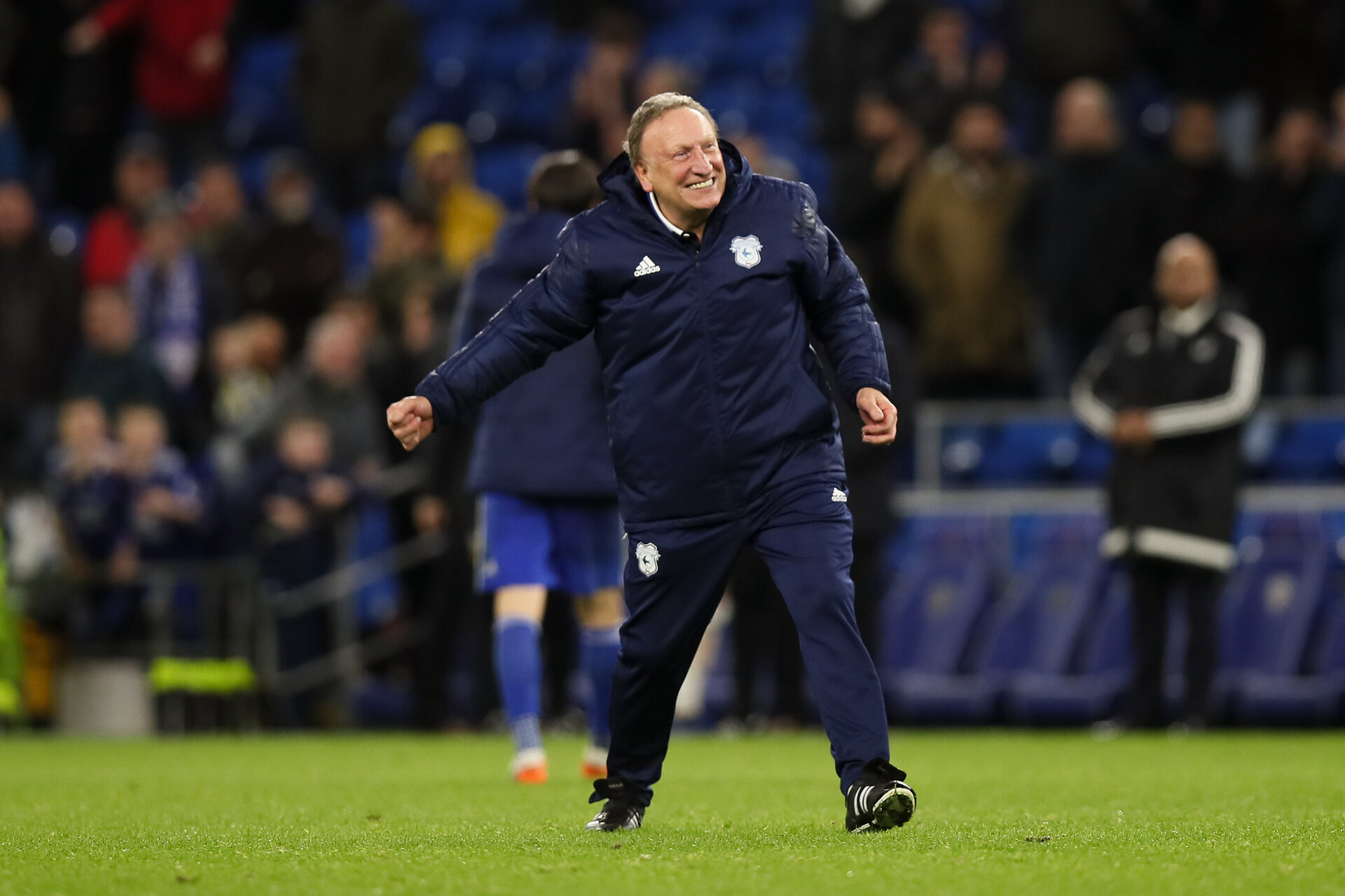 CARDIFF, WALES - NOVEMBER 30: Cardiff City manager \ head coach Neil Warnock celebrates at full time after the Premier League match between Cardiff City and Wolverhampton Wanderers at Cardiff City Stadium on November 30, 2018 in Cardiff, United Kingdom. (Photo by Molly Darlington - AMA/Getty Images)