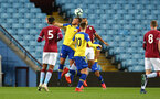 BIRMINGHAM, ENGLAND - DECEMBER 07: Harry Hamblin header (Middle) during the match between Aston Villa FC and Southampton FC pictured at Villa Park Stadium  on December 7, 2018 in Birmingham, England. (Photo by James Bridle - Southampton FC/Southampton FC via Getty Images)