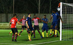 SOUTHAMPTON, ENGLAND - DECEMBER 11: Will ferry scores from a corner during the U23s Cup match between Southampton FC and West Ham United pictured at Staplewood Training Ground on December 11, 2018 in Southampton England. (Photo by James Bridle - Southampton FC/Southampton FC via Getty Images)