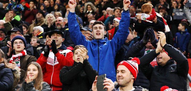 SOUTHAMPTON, ENGLAND - DECEMBER 16: Southampton fans during the Premier League match between Southampton FC and Arsenal FC at St Mary's Stadium on December 15, 2018 in Southampton, United Kingdom. (Photo by Chris Moorhouse/Southampton FC via Getty Images)