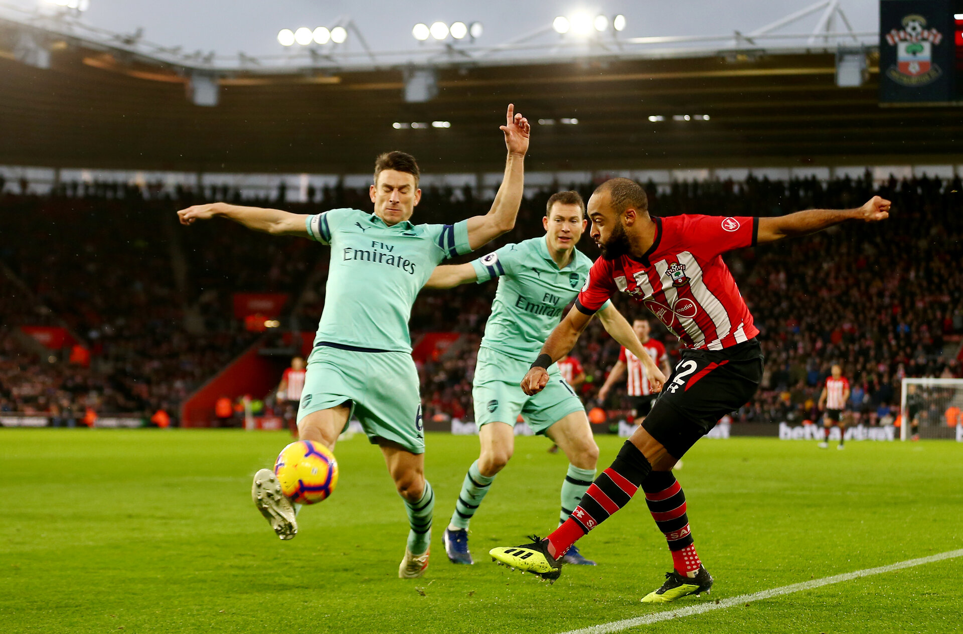 SOUTHAMPTON, ENGLAND - DECEMBER 16: Nathan Redmond of Southampton during the Premier League match between Southampton FC and Arsenal FC at St Mary's Stadium on December 15, 2018 in Southampton, United Kingdom. (Photo by Matt Watson/Southampton FC via Getty Images)