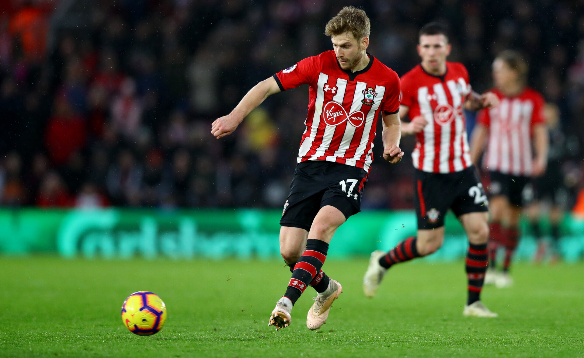 SOUTHAMPTON, ENGLAND - DECEMBER 16: Stuart Armstrong of Southampton during the Premier League match between Southampton FC and Arsenal FC at St Mary's Stadium on December 15, 2018 in Southampton, United Kingdom. (Photo by Matt Watson/Southampton FC via Getty Images)