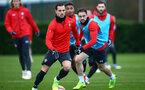 SOUTHAMPTON, ENGLAND - DECEMBER 19: Cedric (middle) during a training session at Staplewood Complex on December 19, 2018 in Southampton, England. (Photo by James Bridle - Southampton FC/Southampton FC via Getty Images)