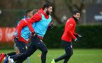 SOUTHAMPTON, ENGLAND - DECEMBER 19: Charlie Austin (left) during a training session at Staplewood Complex on December 19, 2018 in Southampton, England. (Photo by James Bridle - Southampton FC/Southampton FC via Getty Images)