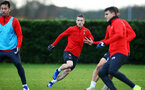 SOUTHAMPTON, ENGLAND - DECEMBER 19: Steven Davis (middle) during a training session at Staplewood Complex on December 19, 2018 in Southampton, England. (Photo by James Bridle - Southampton FC/Southampton FC via Getty Images)