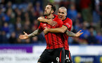 HUDDERSFIELD, ENGLAND - DECEMBER 22:  Danny Ings(L) celebrates with Oriol Romeu after scoring from the penalty spot during the Premier League match between Huddersfield Town and Southampton FC at John Smith's Stadium on December 22, 2018 in Huddersfield, United Kingdom. (Photo by Matt Watson/Southampton FC via Getty Images)