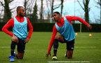 SOUTHAMPTON, ENGLAND - DECEMBER 25: Tyreke Johnson(L) and Kayne Ramsay during a Southampton FC training session at the Staplewood Campus on December 25, 2018 in Southampton, England. (Photo by Matt Watson/Southampton FC via Getty Images)