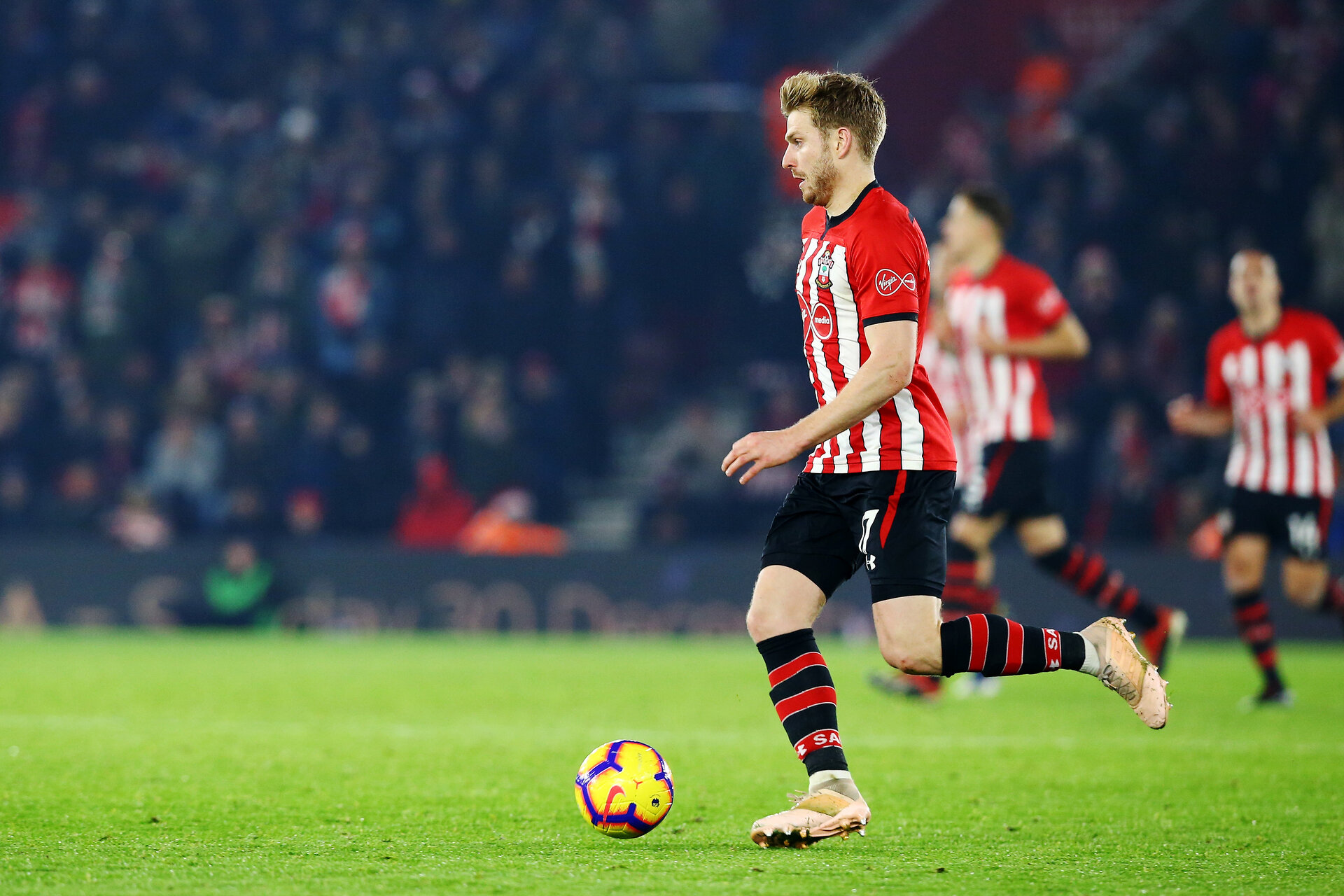 SOUTHAMPTON, ENGLAND - DECEMBER 27: Stuart Armstrong (right) during the Premier League match between Southampton FC and West Ham United at St Mary's Stadium on December 27, 2018 in Southampton, United Kingdom. (Photo by James Bridle - Southampton FC/Southampton FC via Getty Images)