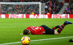 SOUTHAMPTON, ENGLAND - DECEMBER 30: Matt Target recieves a bad tackle and goes down during the Premier League match between Southampton FC and Manchester City at St Mary's Stadium on December 30, 2018 in Southampton, United Kingdom. (Photo by James Bridle - Southampton FC/Southampton FC via Getty Images)