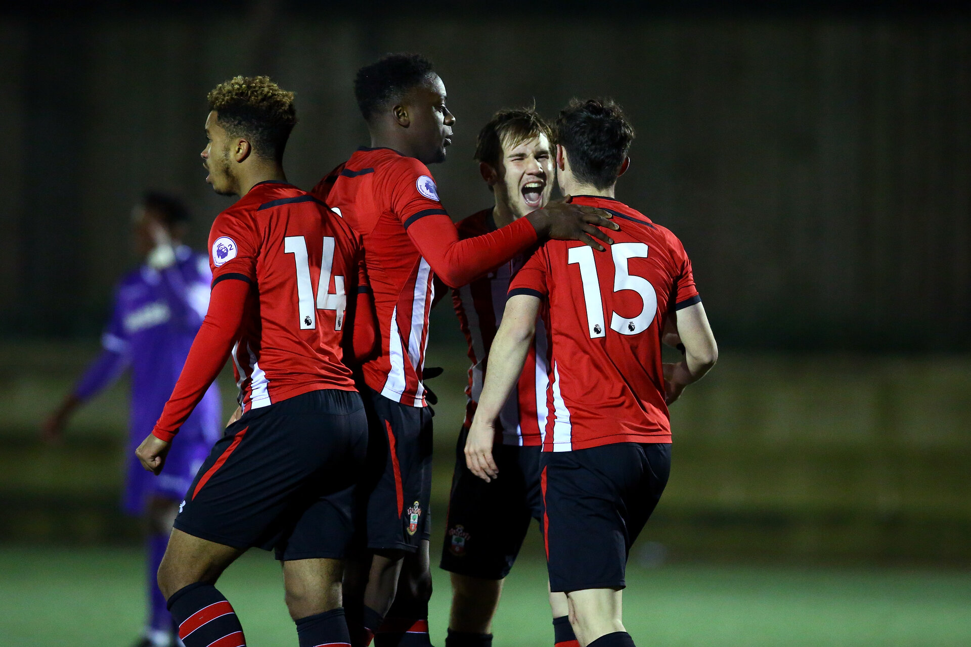 SOUTHAMPTON, ENGLAND - JANUARY 04:  LtoR Enzo Robise, Jonathan Afolabi , Jake Vokins, Will Ferry (goal scorer) during the Pl2 match between Southampton FC   and Stoke City FC pictured at Staplewood Training Ground on January 04, 2018 in Southampton, United Kingdom. (Photo by James Bridle - Southampton FC/Southampton FC via Getty Images)