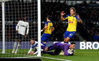 DERBY, ENGLAND - JANUARY 05: Jannik Vestergaard of Southampton misses an opportunity during the FA Cup Third Round match between Derby County and Southampton FC at Pride Park on January 05, 2019 in Derby, United Kingdom. (Photo by Matt Watson/Southampton FC via Getty Images)