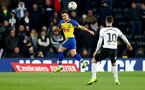 DERBY, ENGLAND - JANUARY 05: Cedric Soares during the FA Cup Third Round match between Derby County and Southampton FC at Pride Park on January 05, 2019 in Derby, United Kingdom. (Photo by Matt Watson/Southampton FC via Getty Images)