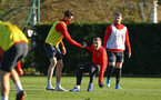 SOUTHAMPTON, ENGLAND - JANUARY 09:  LtoR Wesley Hoedt helps up Matt target during a Southampton FC training session at Staplewood Training Ground on January 09, 2019 in Southampton, United Kingdom. (Photo by James Bridle - Southampton FC/Southampton FC via Getty Images)