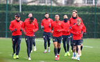SOUTHAMPTON, ENGLAND - JANUARY 10: players warm up during a Southampton FC training session at the Staplewood Campus on January 10, 2019 in Southampton, England. (Photo by Matt Watson/Southampton FC via Getty Images)