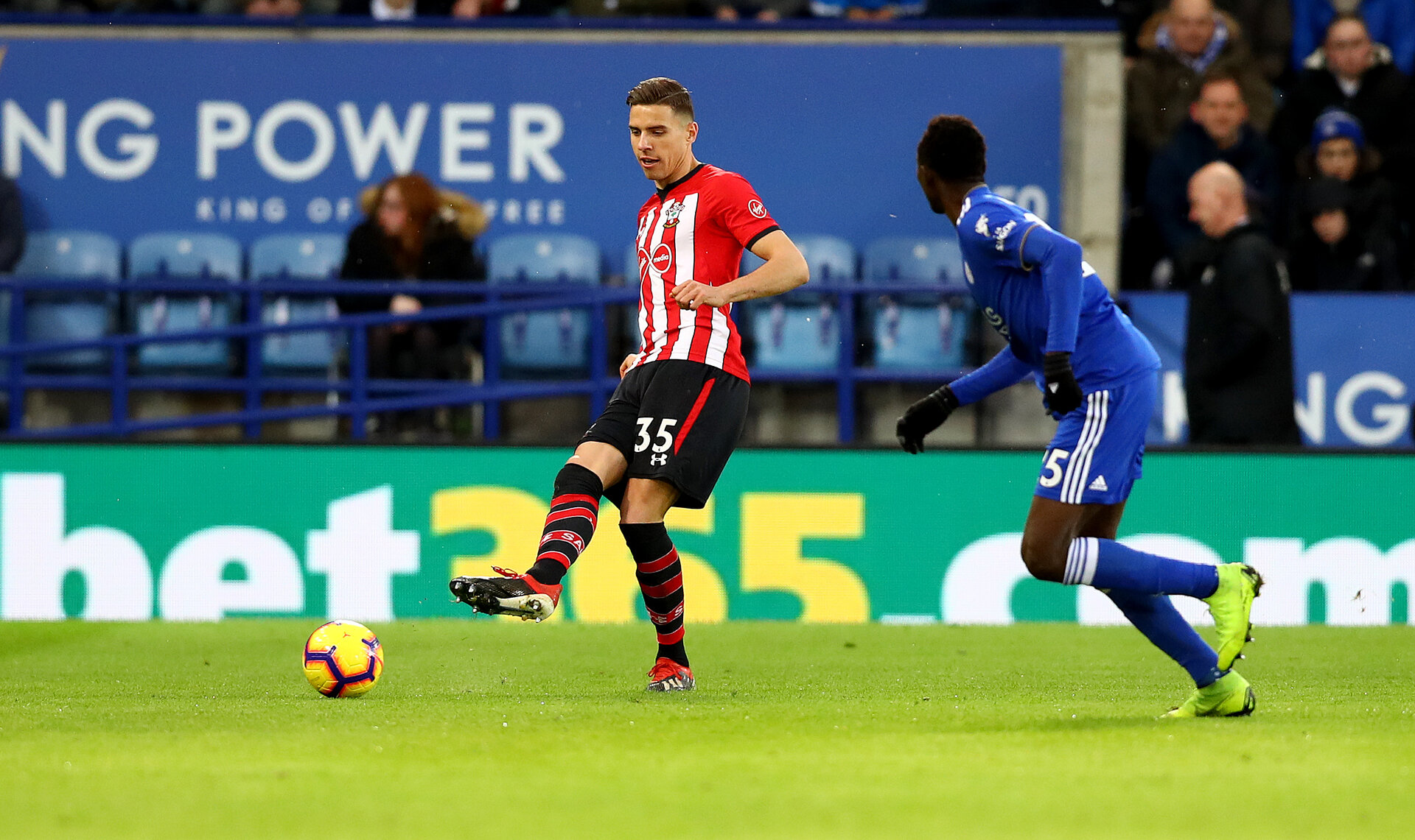 LEICESTER, ENGLAND - JANUARY 12: Jan Bednarek of Southampton during the Premier League match between Leicester City and Southampton FC at The King Power Stadium on January 12, 2019 in Leicester, United Kingdom. (Photo by Matt Watson/Southampton FC via Getty Images)