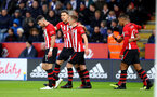 LEICESTER, ENGLAND - JANUARY 12: L to T Shane Long, Jan Bednarek and James Ward-Prowse of Southampton during the Premier League match between Leicester City and Southampton FC at The King Power Stadium on January 12, 2019 in Leicester, United Kingdom. (Photo by Matt Watson/Southampton FC via Getty Images)