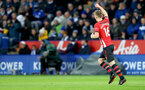 LEICESTER, ENGLAND - JANUARY 12: James Ward-Prowse of Southampton celebrates during the Premier League match between Leicester City and Southampton FC at The King Power Stadium on January 12, 2019 in Leicester, United Kingdom. (Photo by Matt Watson/Southampton FC via Getty Images)