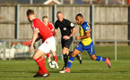 MIDDLESBROUGH, ENGLAND - JANUARY 13:  Tyreke Johnson (middle) during the Premier League 2 match between Middlesbrough FC and Southampton FC at Heritage Park on January 13, 2019 in Middlesbrough, United Kingdom. (Photo by James Bridle - Southampton FC/Southampton FC via Getty Images)