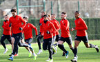 SOUTHAMPTON, ENGLAND - JANUARY 14: Players warm up during a Southampton FC training session at the Staplewood Campus on January 14, 2019 in Southampton, England. (Photo by Matt Watson/Southampton FC via Getty Images)